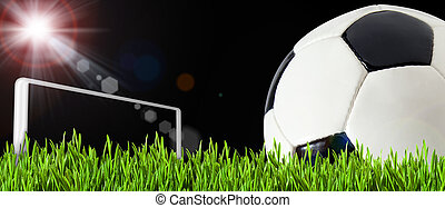 boule jeu, résumé, champ football, vert, backgrounds., football
