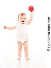 boule jeu, vieux jouet, année, une, blanc, couche, enfant, bébé bébé, jouer, gosse