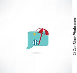 boule plage, parapluie, icône