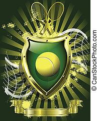 boule tennis, bouclier, fond
