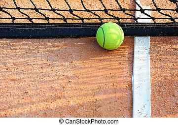 boule tennis, sur, a, tennis, cour argile