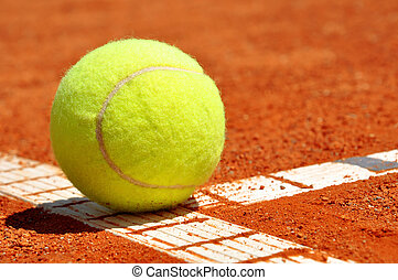 boule tennis, sur, tennis, cour argile