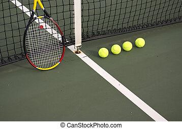 boule tennis, tribunal, jaune