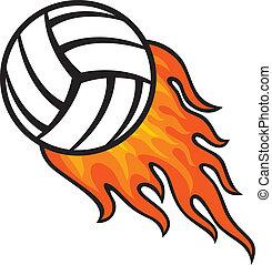 boule volleyball, dans, brûler