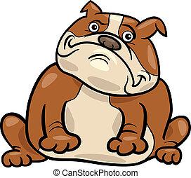 bouledogue, anglaise, dessin animé, illustration, chien
