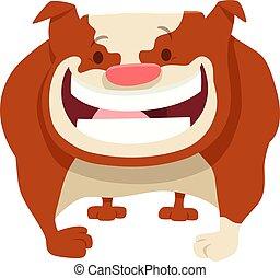 bouledogue, comique, caractère, chien, dessin animé