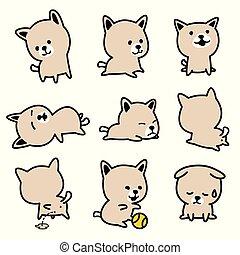 bouledogue, griffonnage, race, caractère, chien, francais, vecteur, illustration, chiot, dessin animé, icône