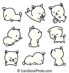 bouledogue, griffonnage, race, caractère, chien, francais, vecteur, illustrations, chiot, dessin animé, icône