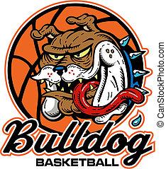 bouledogue, logo, fou, basket-ball