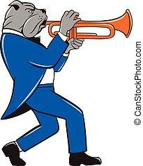 bouledogue, souffler, vue, côté, trompette, dessin animé