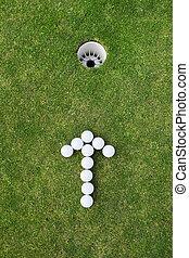 boules golf, arrangé, signe flèche