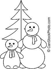 boules neige, à, fur-tree, contours