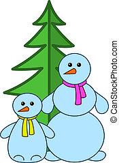 boules neige, à, fur-tree