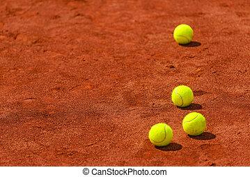 boules tennis, sur, cour argile