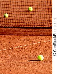 boules tennis, tribunal, argile