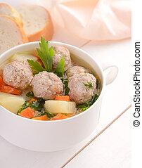 boulette viande, bol, soupe, blanc