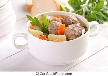 boulette viande, soupe, blanc, bol
