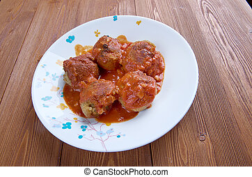 Boulettes de poisson Moroccan cuisine - fishballs in tomato sauce