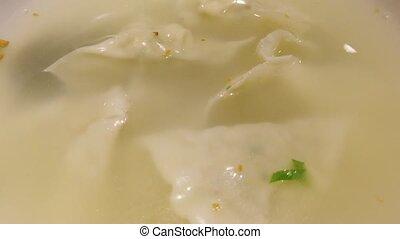 boulettes, haut., table, bol, soupe, fin