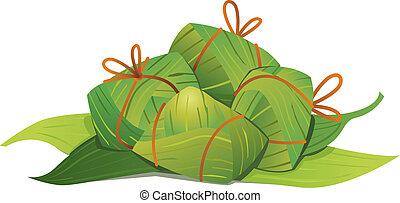 boulettes, riz, chinois, illustration