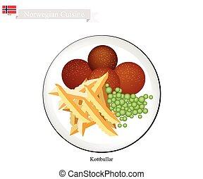 boulettes viande, kottbullar, populaire, plat, norvège, ou