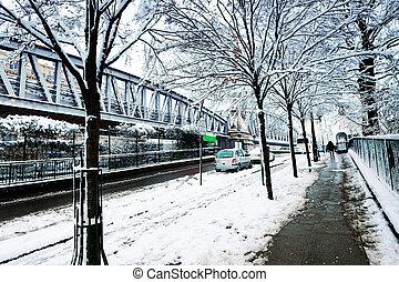 Boulevard de la Villette and metro line under snow