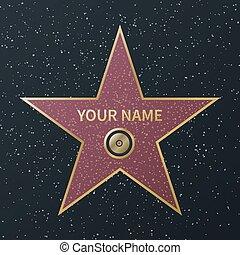 boulevard, rue, reussite, film, célébrité, star., promenade, célèbre, actororr, vecteur, récompense, étoiles, renommée, granit, hollywood, image, films