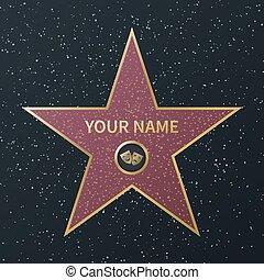 boulevard, rue, reussite, film, célébrité, star., promenade, célèbre, vecteur, récompense, étoiles, oscar, renommée, granit, hollywood, acteurs, image, films