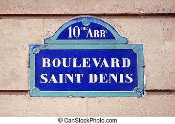 Boulevard Saint Denis sign in Paris, France