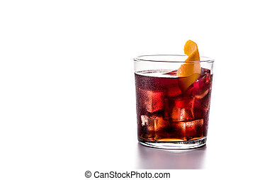 Boulevardier cocktail and orange zest in glass isolated on ...