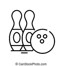 Bouling balls line icon, concept sign, outline vector illustration, linear symbol.