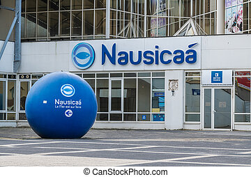 Boulogne sur mer, France - February 11, 2020 :  Nausicaa : National Sea Museum in Boulogne sur Mer, France. Nausicaa is first tourist place in the Hauts de France