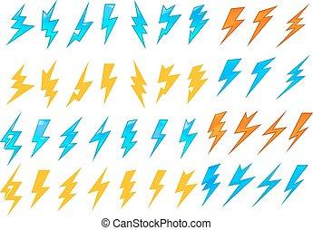 boulons, éclair, électrique, ou, icônes