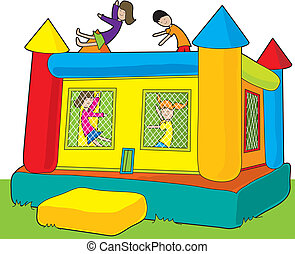 Bounce Castle Kids - A colorful bounce castle set outdoors...