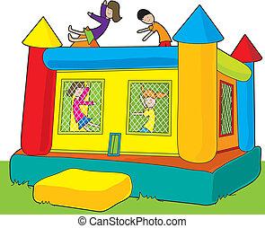 Bounce Castle Kids - A colorful bounce castle set outdoors...