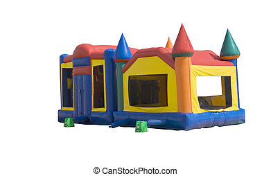 bounce castle - bounce house for kids formed like a colorful...