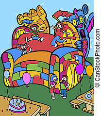 bounce house cartoon.