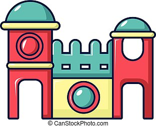 Bounce house icon, cartoon style - Bounce house icon....