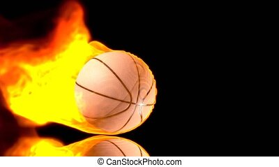 Bouncing basket ball in fire. 3D Rendering