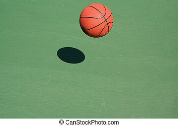 Bouncing Basketball - A bouncing Basketball green court with...