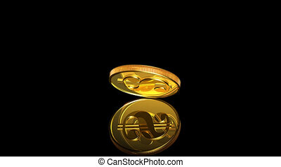 Gold coin dollar is falling and bouncing. Isolated on black. Alpha channel is included