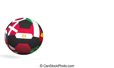 Bouncing football ball featuring different national teams accents flag of Egypt