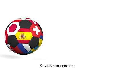 Bouncing football ball featuring different national teams...