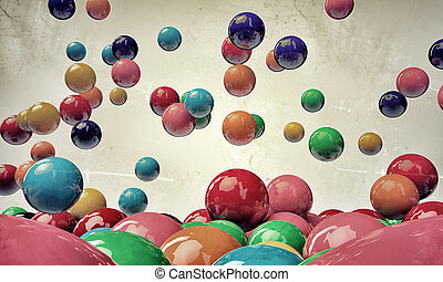 bouncing gumballs isolated on white background