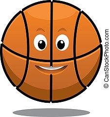 Bouncing happy brown basketball ball