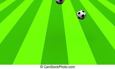 Bouncing Soccer Balls On Soccer Field.