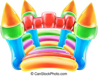 Bouncy Castle - An illustration of a colourful inflatable...