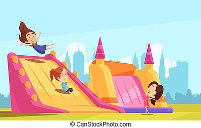 Bouncy Castle Flat Composition - Jumping trampolines...