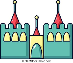 Bouncy castles icon, cartoon style - Bouncy castles icon....