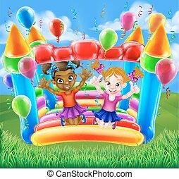 bouncy, crianças, castelo, pular